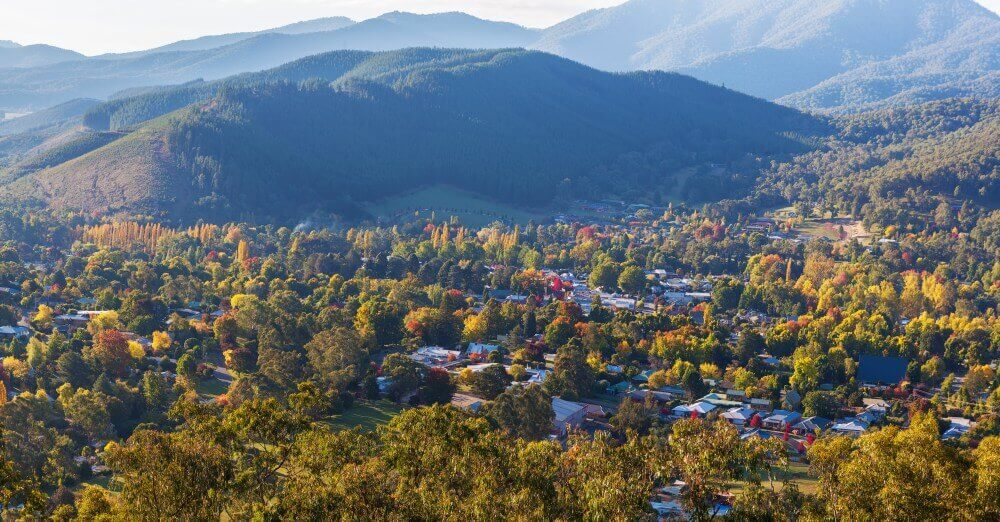 Melbourne Private Tours High Country Beautiful countryside town in autumn aerial panorama Bright Victoria