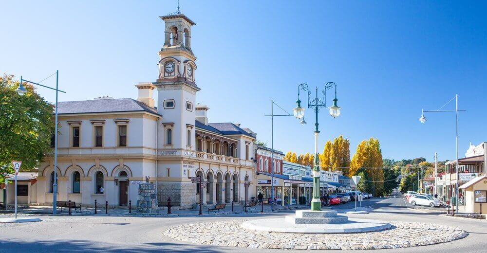 Historic Beechworth town centre on a cold autumn day in Victoria