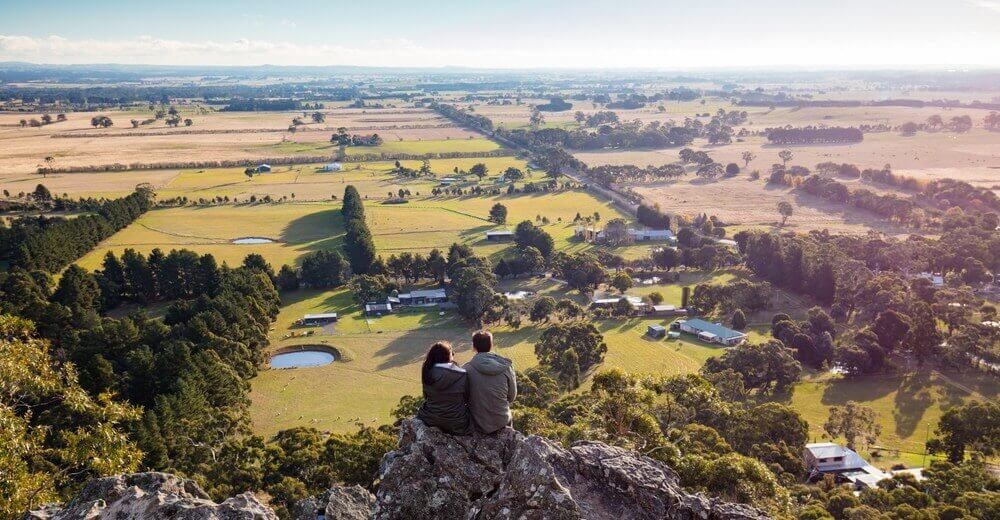 The popular tourist attraction of Hanging Rock in the Macedon ranges Victoria