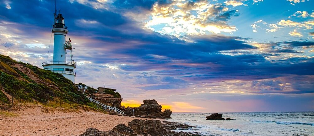 Sunrise view of lighthouse at Point Lonsdale Australia